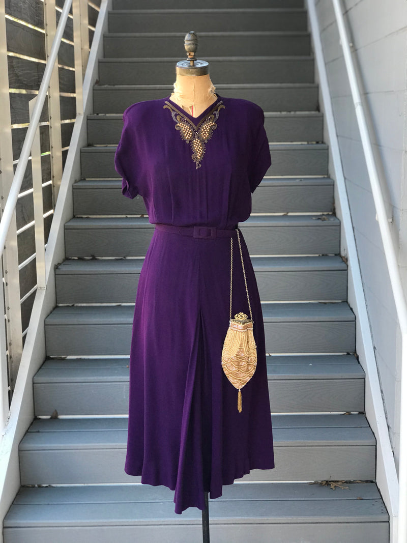 1940s Plum Beaded Yoke Rayon Dress