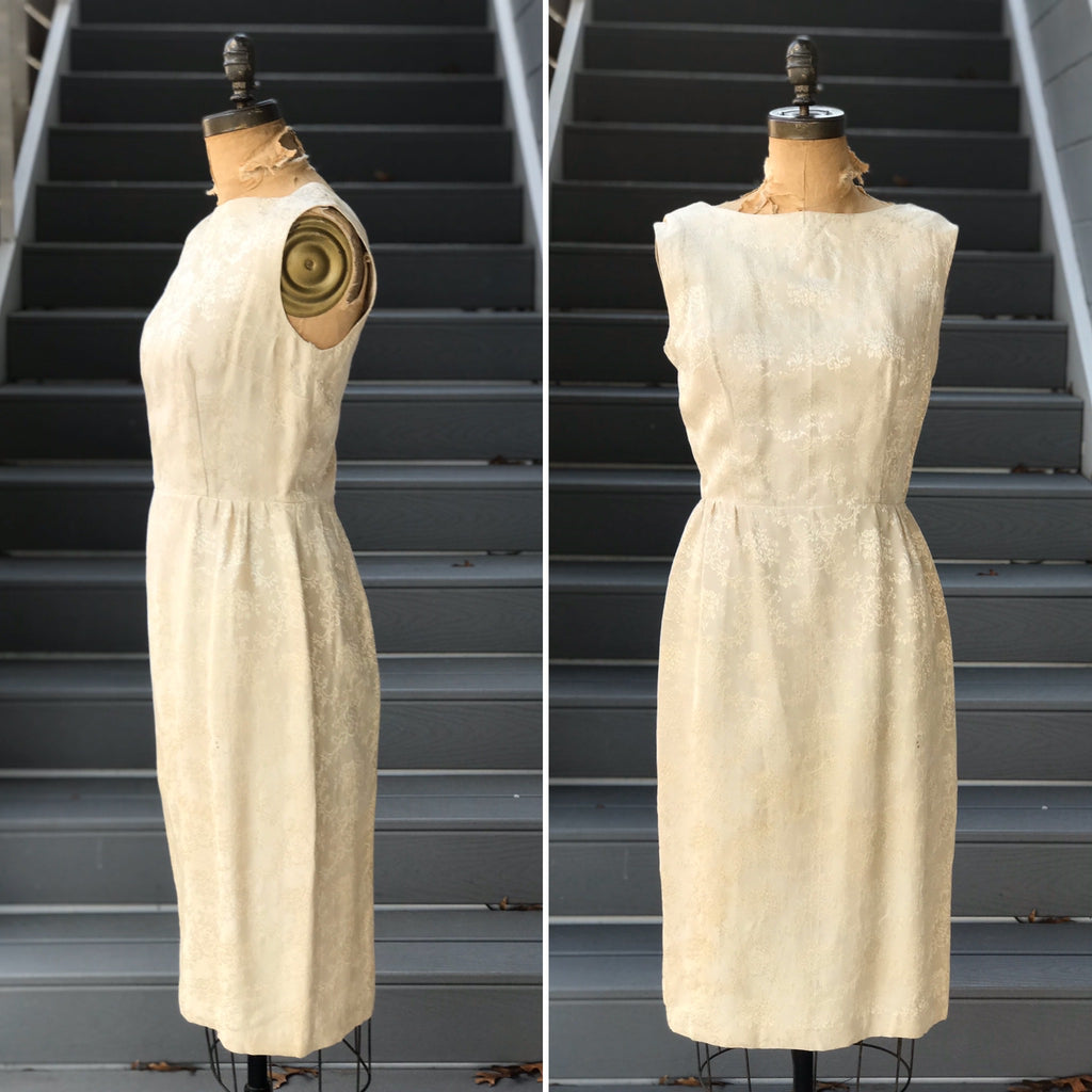 1960s Ivory Vine Brocade Wiggle Dress