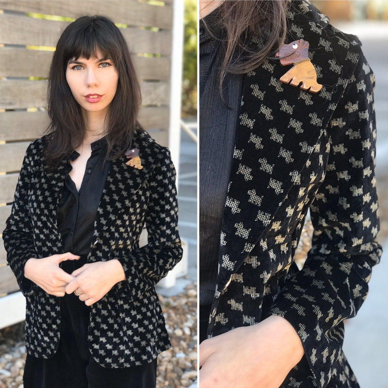 1960s Velveteen Scottie Dog Blazer
