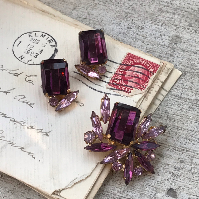 Purple Rhinestone Earring and Brooch Set