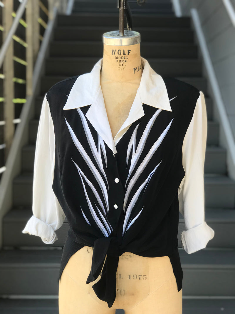 Black and White Bob Mackie Silk Shirt
