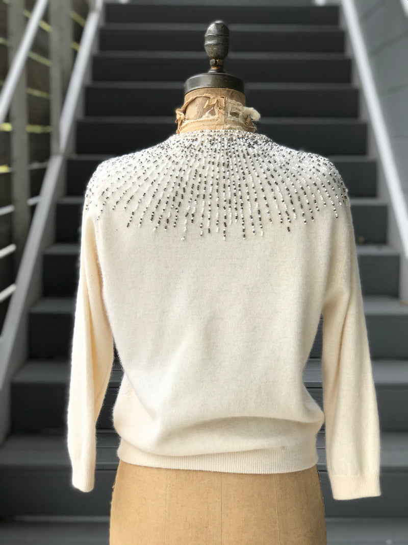 1960s Vanilla + Firework Beaded Wool Sweater