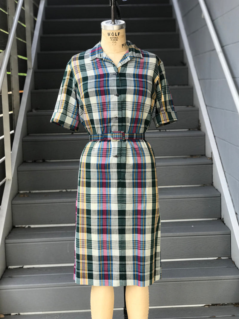 1960s Boyfriend Plaid Cotton Shirtdress