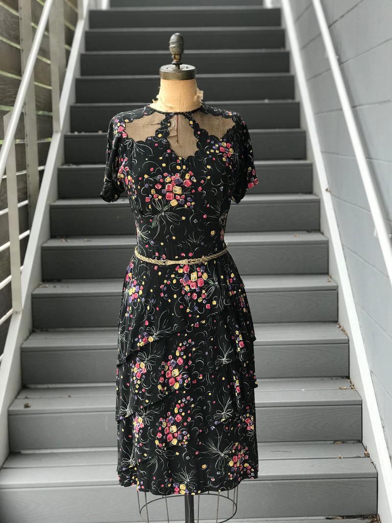 1940s Gem Bouquet Cold Rayon Dress