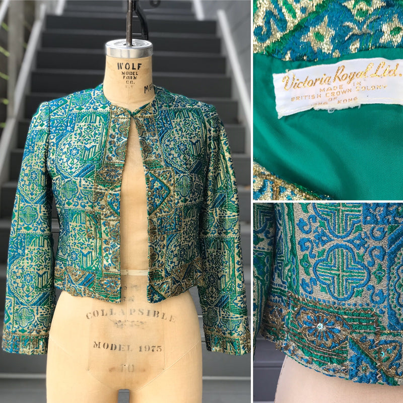 1960s Blue, Green, and Gold Jewel Tone Jacket