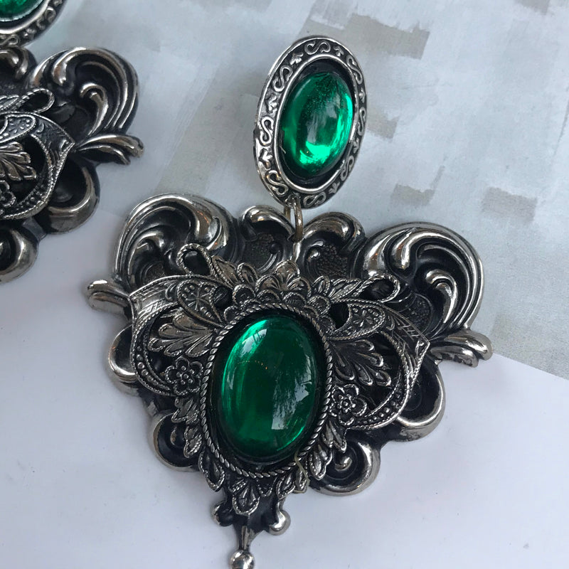 Silver and Green Cabochon Dangle Earrings