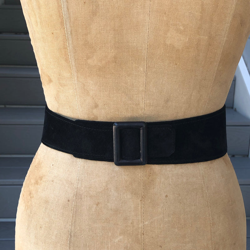 1980s Black Suede Bow Belt