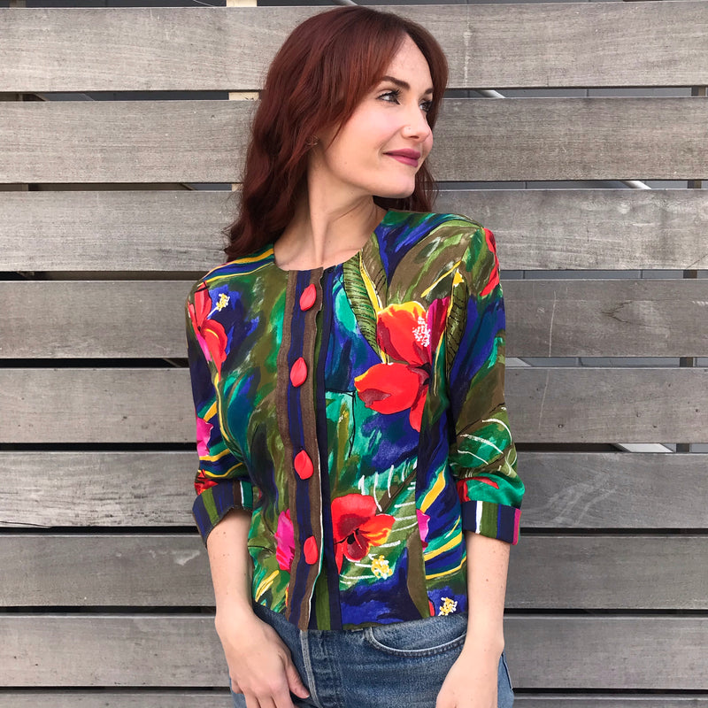 1990s Tropical Print Floral Jacket