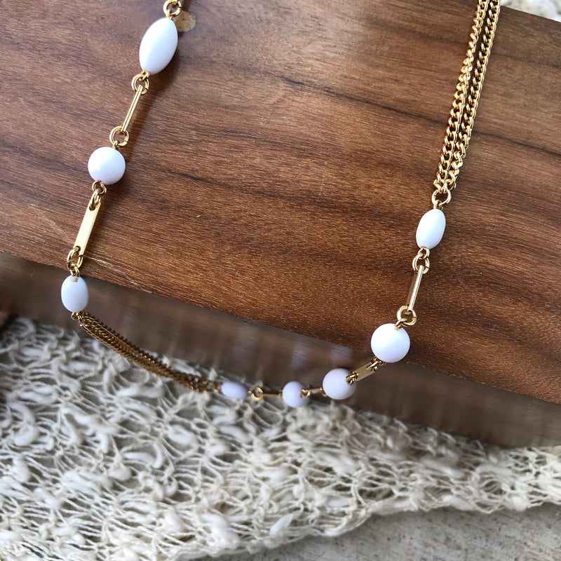 Gold and White Long Layering Chain Necklace