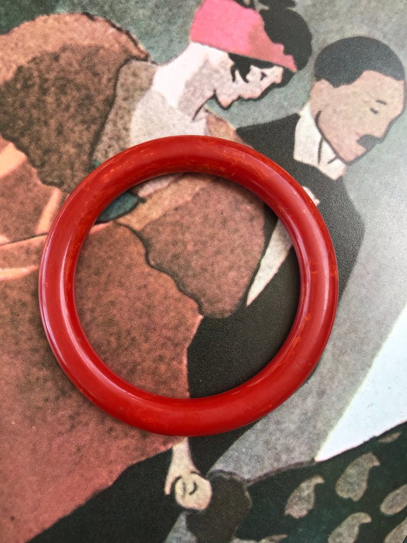 Vintage Tomato Red Bakelite Bangle Bracelet