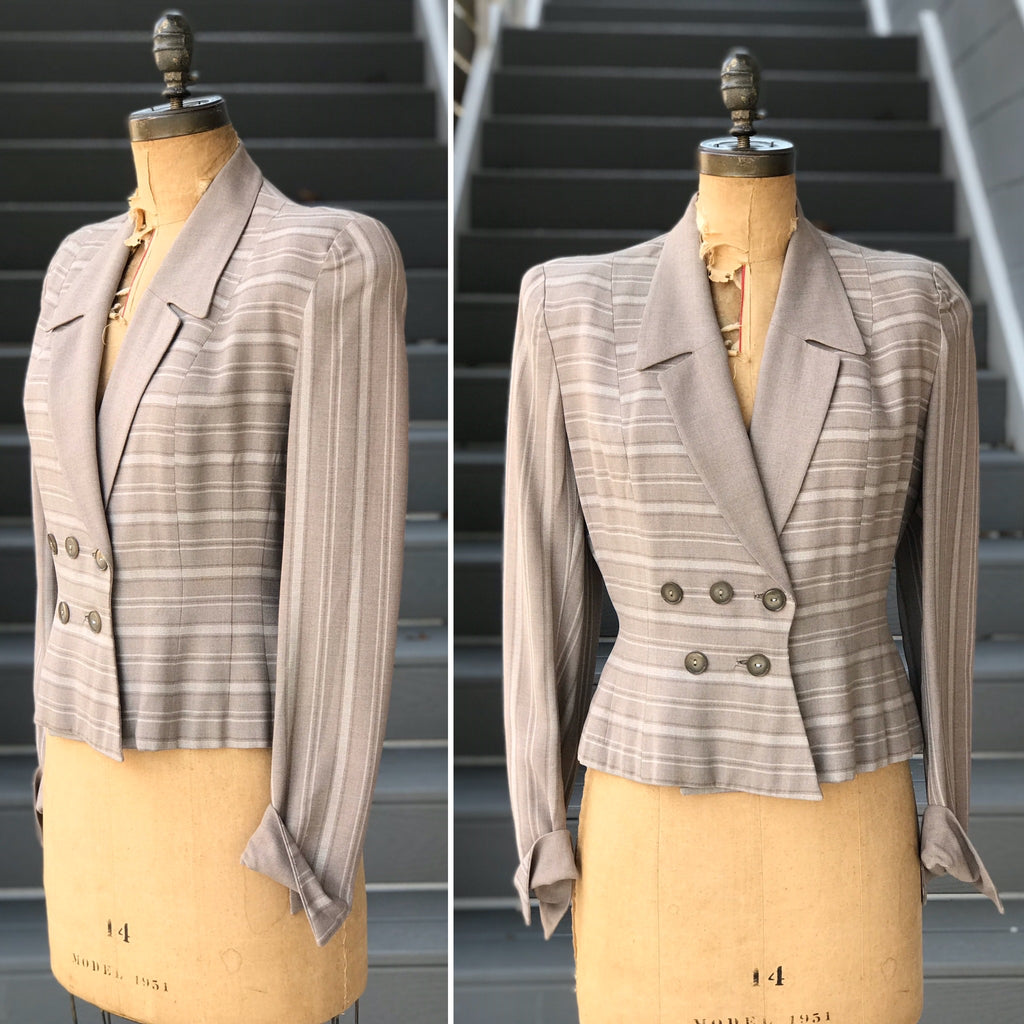 1950s Grey Structural + Striped Blazer