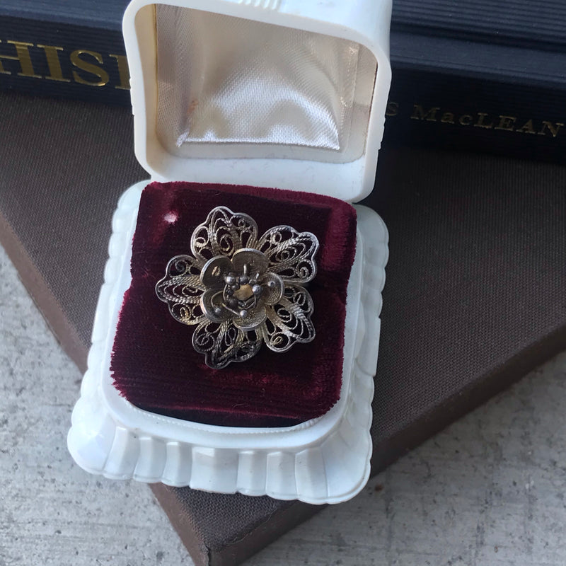 Silver Filigree Flower Ring