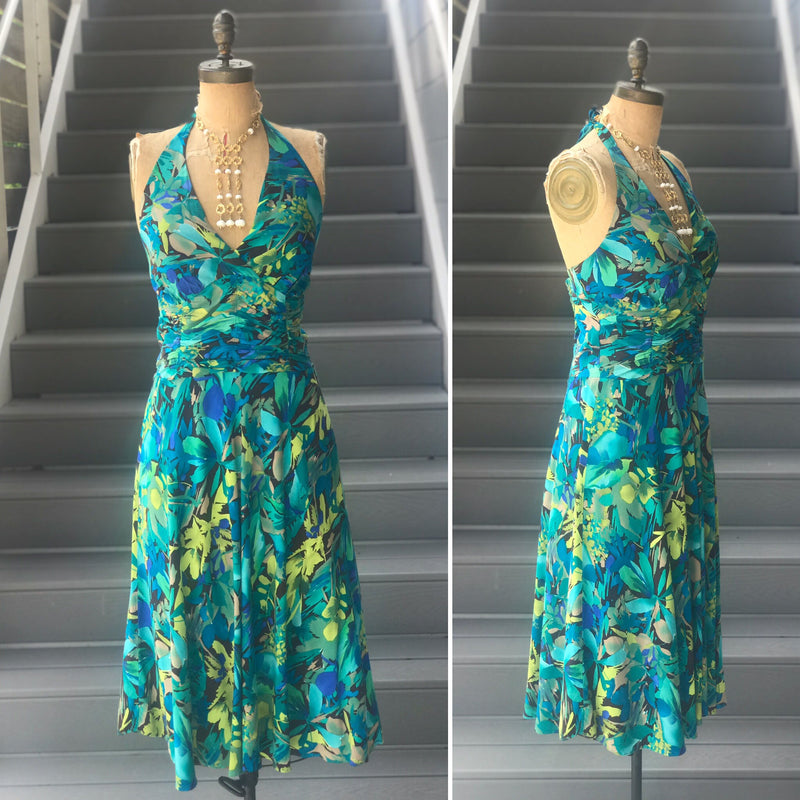 1990s Teal Floral Halter Dress