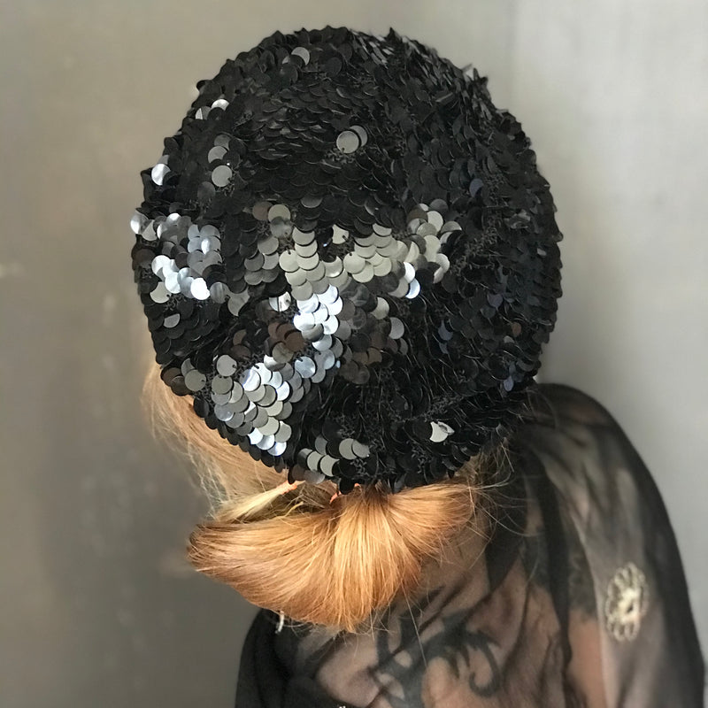 Black Sequin Beret Hat