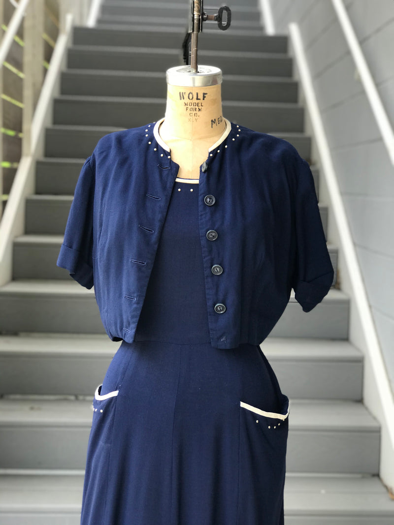 1950s Navy and White Linen Dress and Jacket