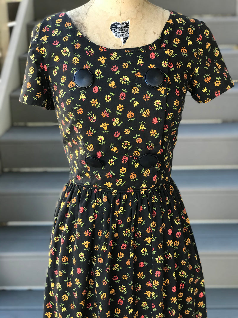 1960s Floral Cornucopia + Button Bib Day Dress