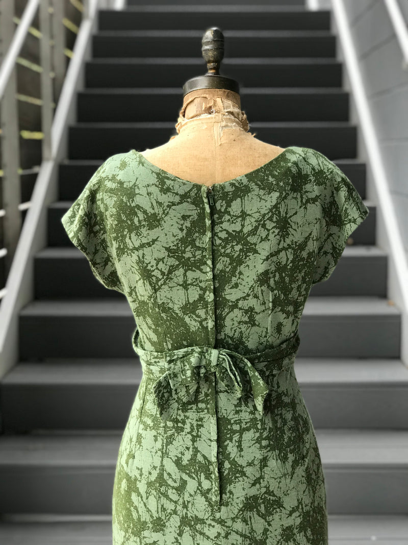 Reserved. 1950s Mossy Splashed Wool Wiggle Dress