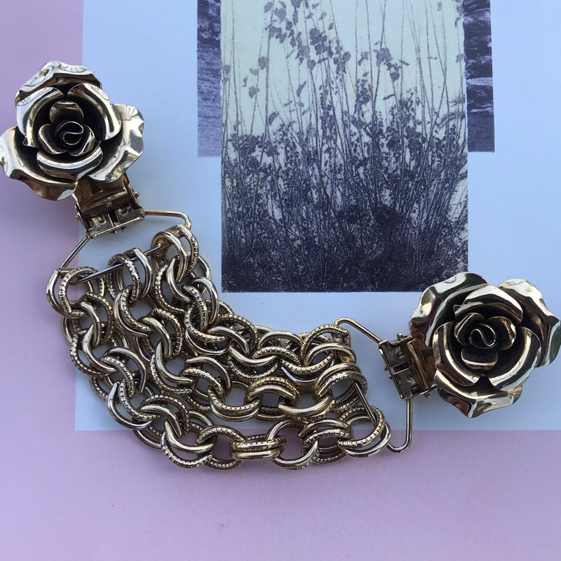 Midcentury Gold Rose Sweater Clip