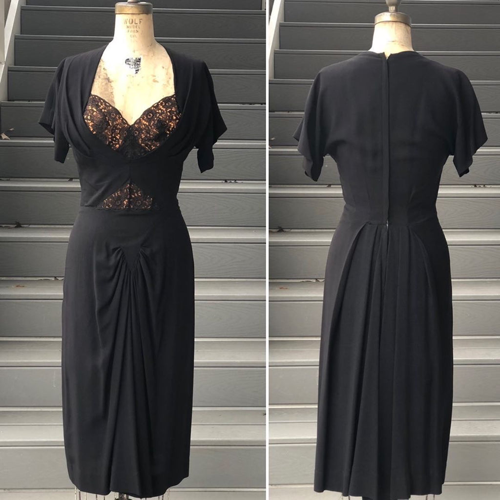 Reserved: 1940s Dorothy OHara Black Crepe dress with Nude Illusion Bust
