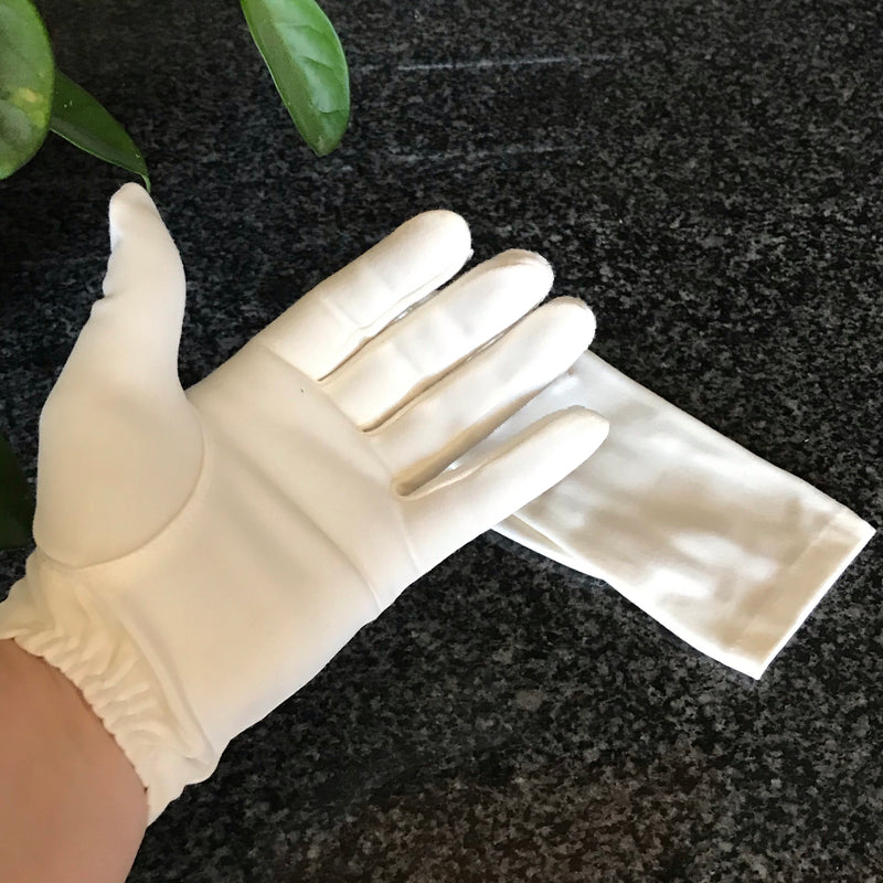 White Cotton Hand Gloves with Elastic Wrist