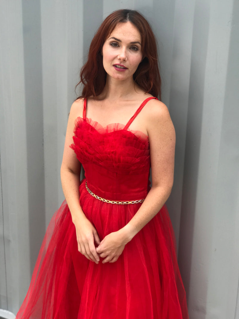 1950s Red Tulle Dress