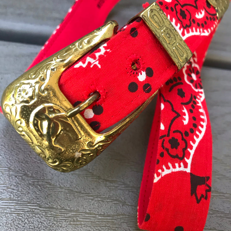 Red Bandana Print Western Belt