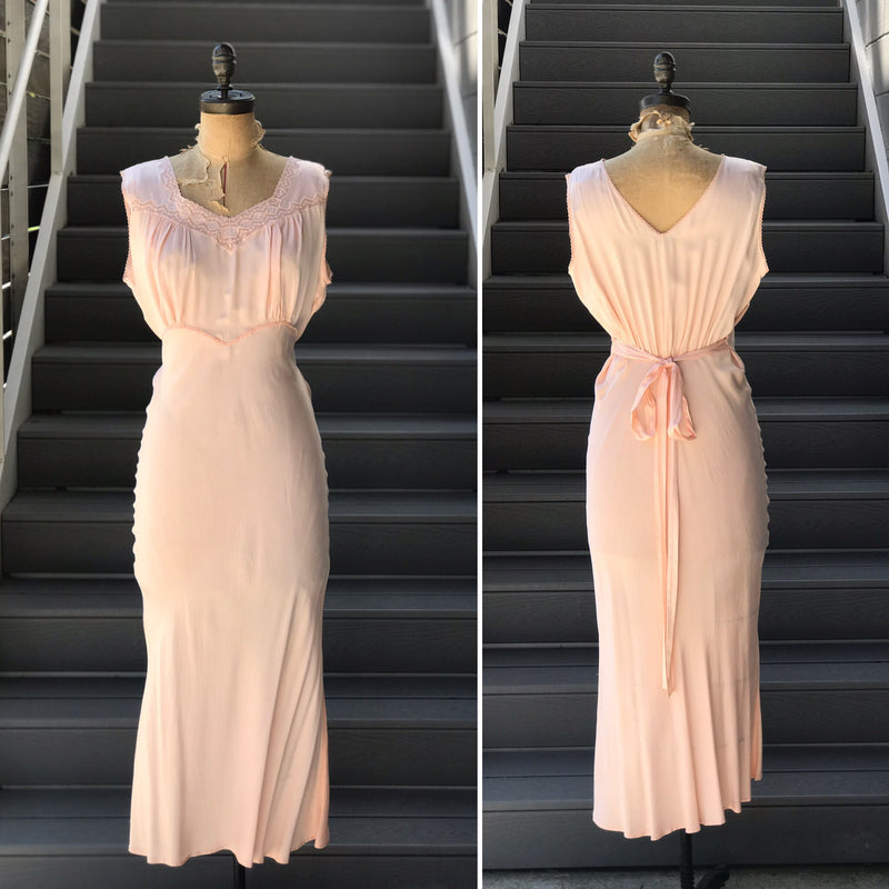 "1930s Peachy ""Barbizon"" Night Slip Dress"