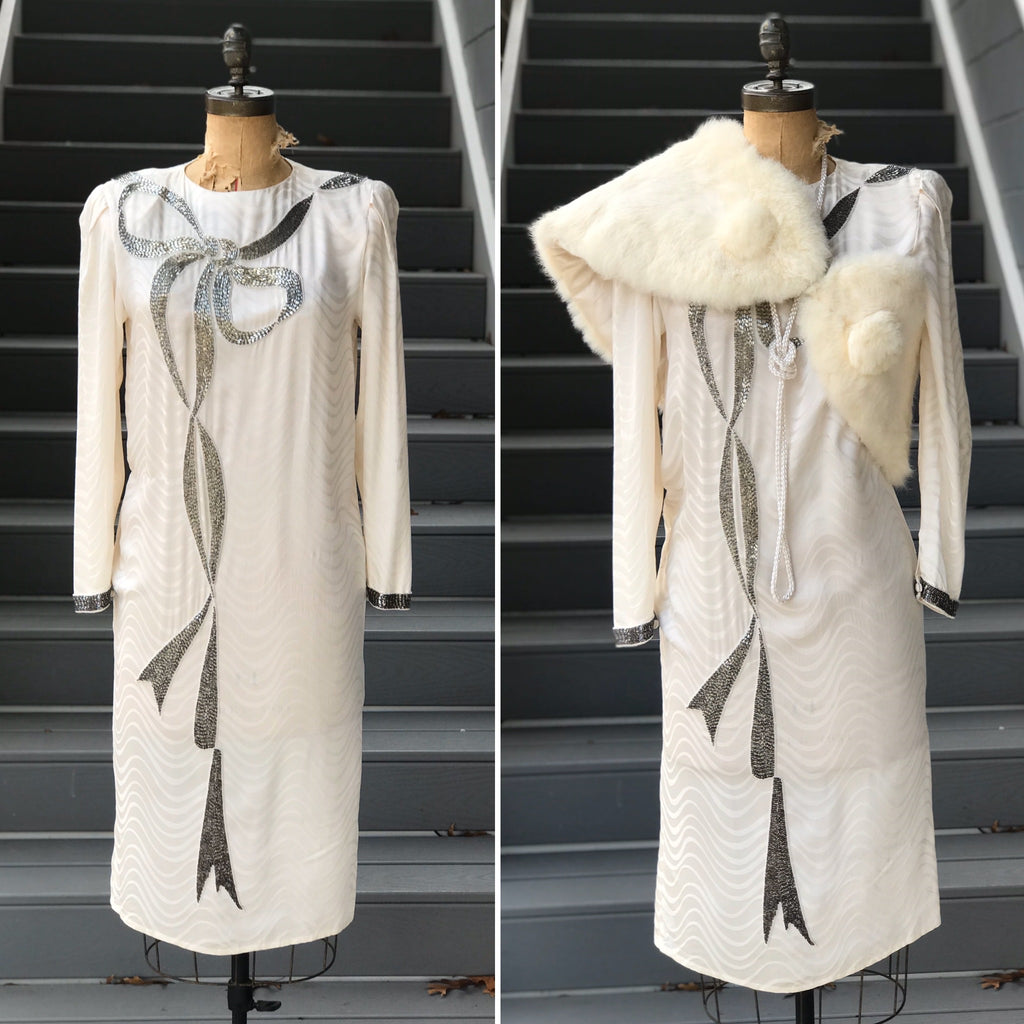 1980s Wavybone Silver Bow Silk Dress