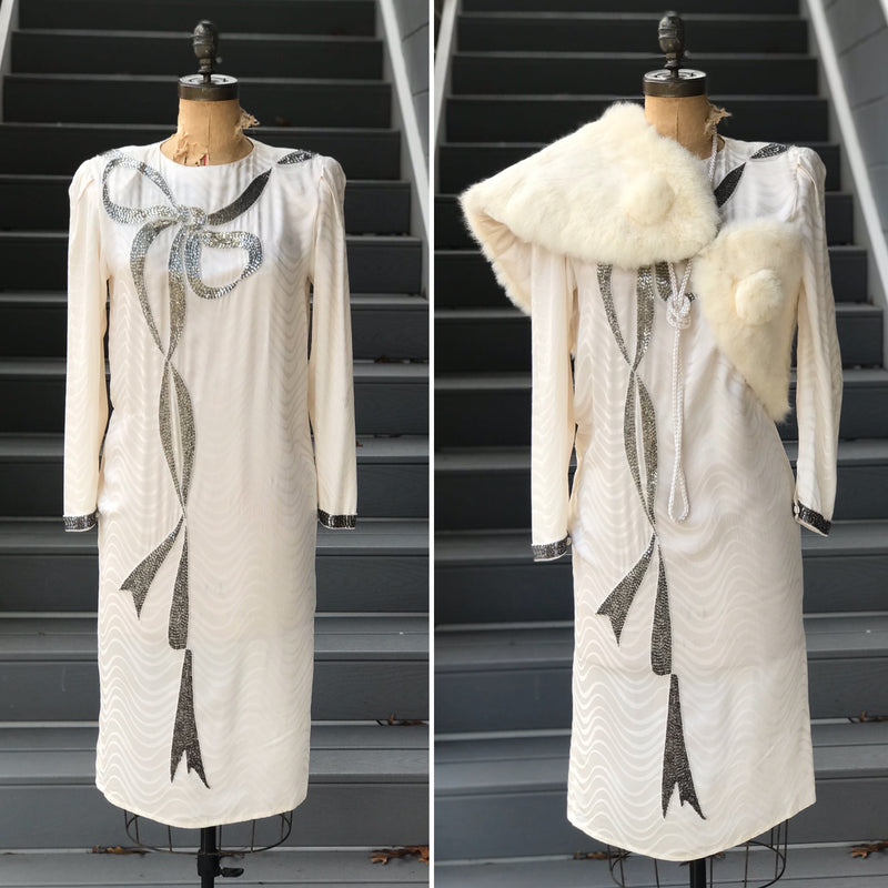 1930s 2 Piece Peignor Gown + Jacket Set