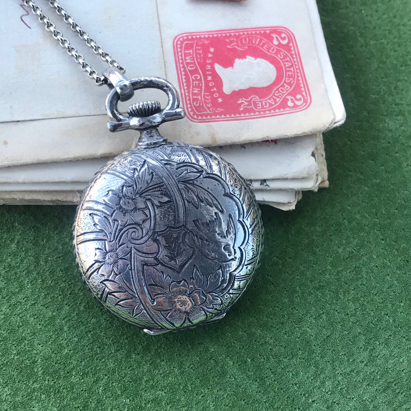 Silver Tone Vintage Locket Necklace