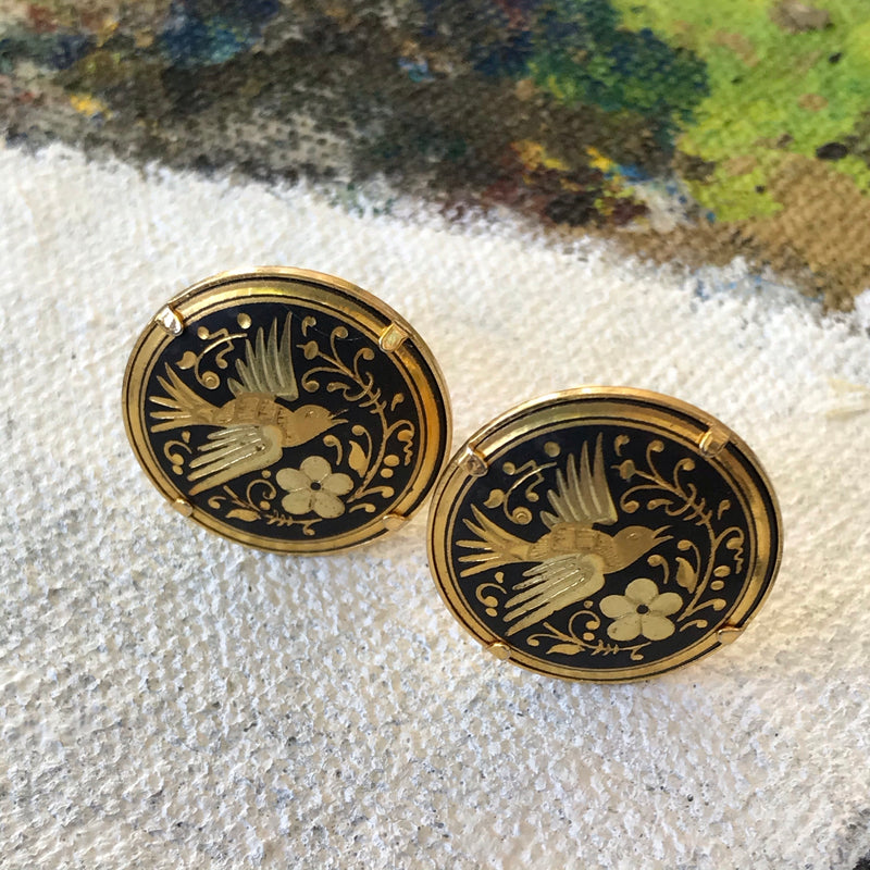 RESERVED Black and Gold Damascene Dove Earrings