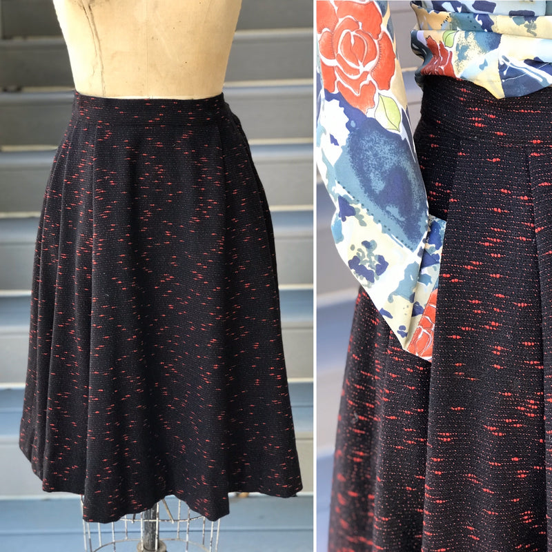 1950s Black Twill + Red Speckled A-Line Skirt