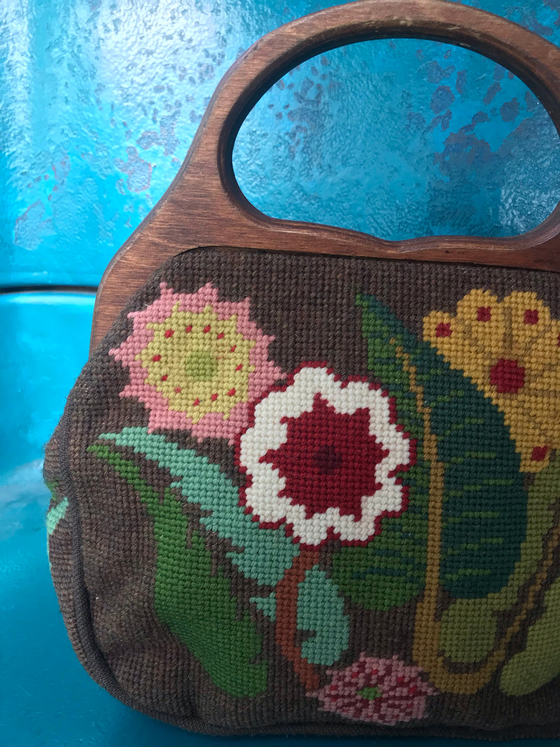 *RESERVED* 1960s Brown + Wooden Floral Carpet Bag