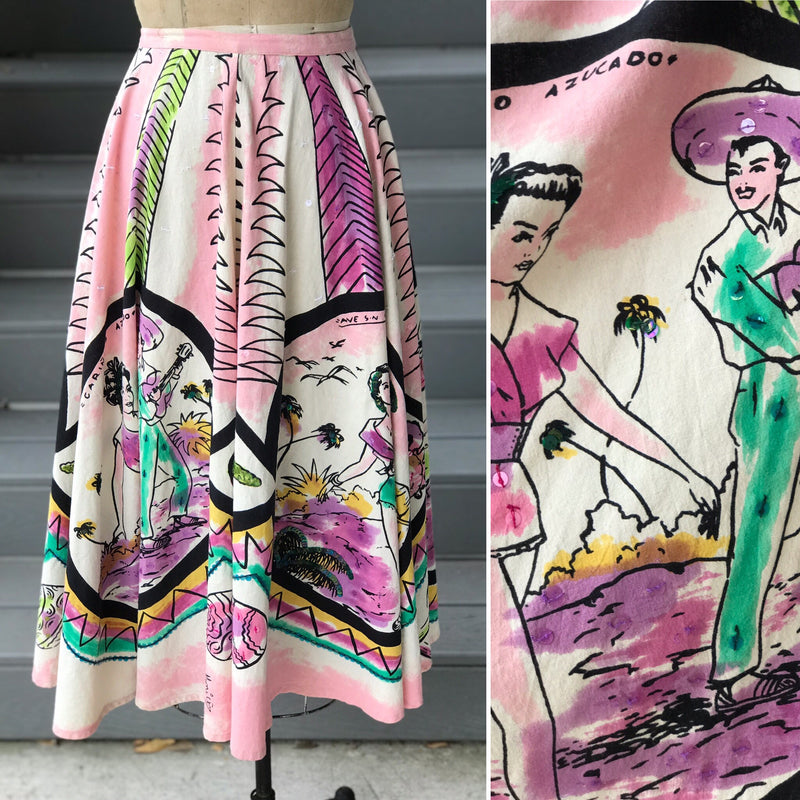 1950s Reproduction Flamingo Pink Sequin Mexican Skirt