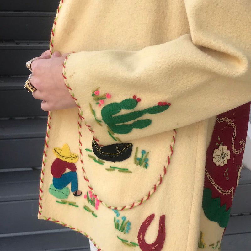 Reserved for Mariah: 1950s Cream Mexican Tourist Jacket
