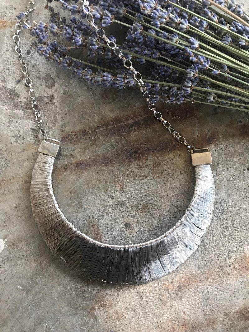 Vintage Silver Wire Arc Statement Necklace
