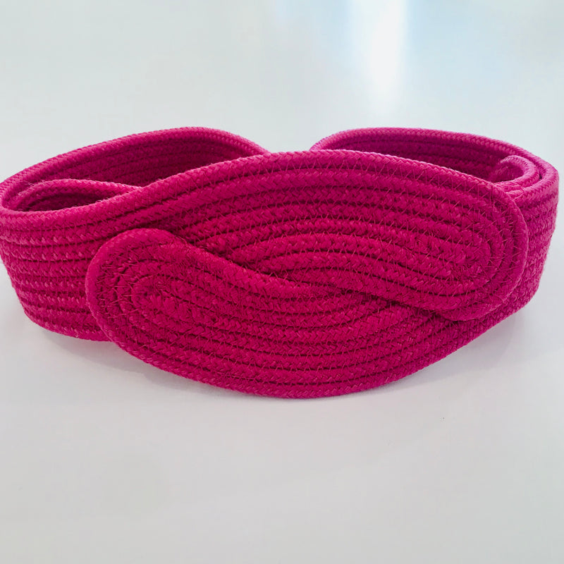 1980s Hot Pink Wide Woven Belt