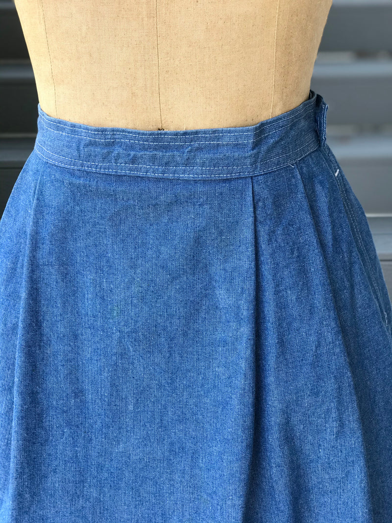 1980s Santa Fe Adobe Painted Denim Skirt