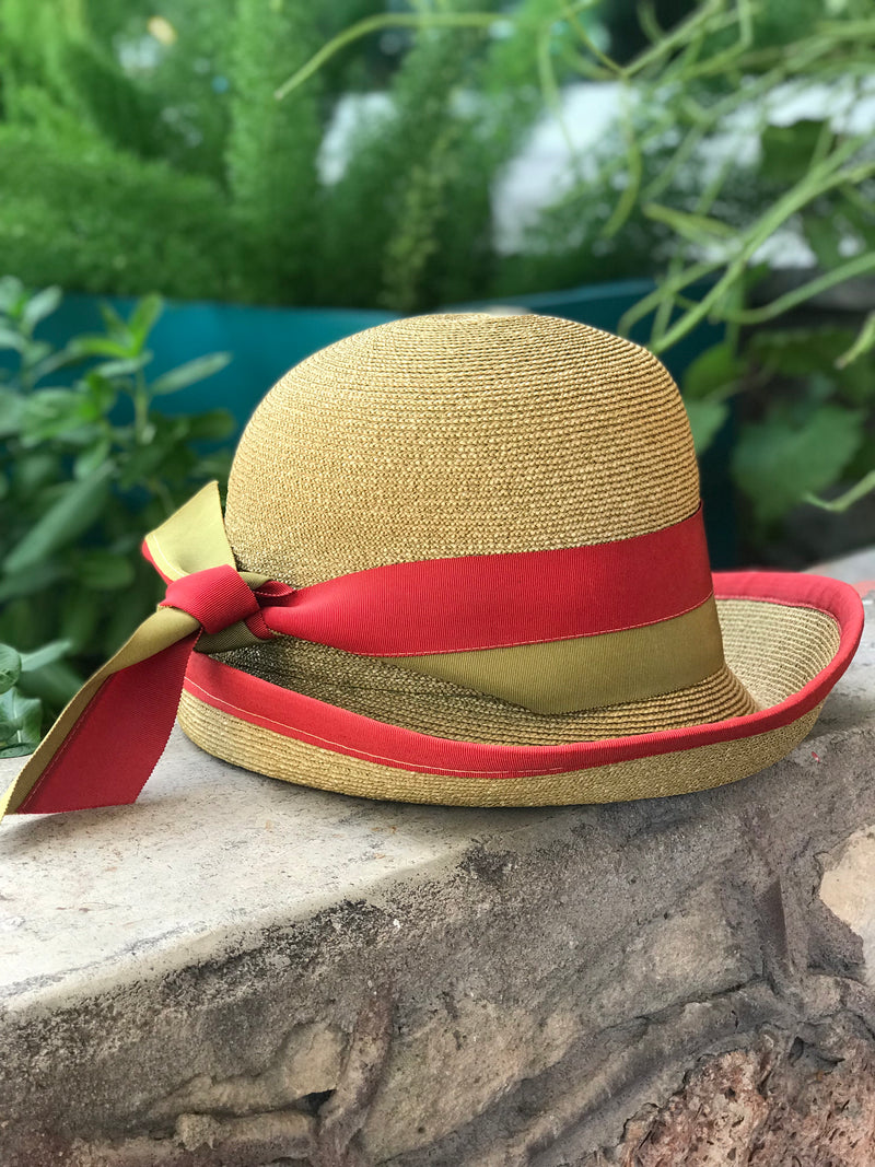 "1960s ""Lilly Daché"" Peanut + Red Bucket Hat"