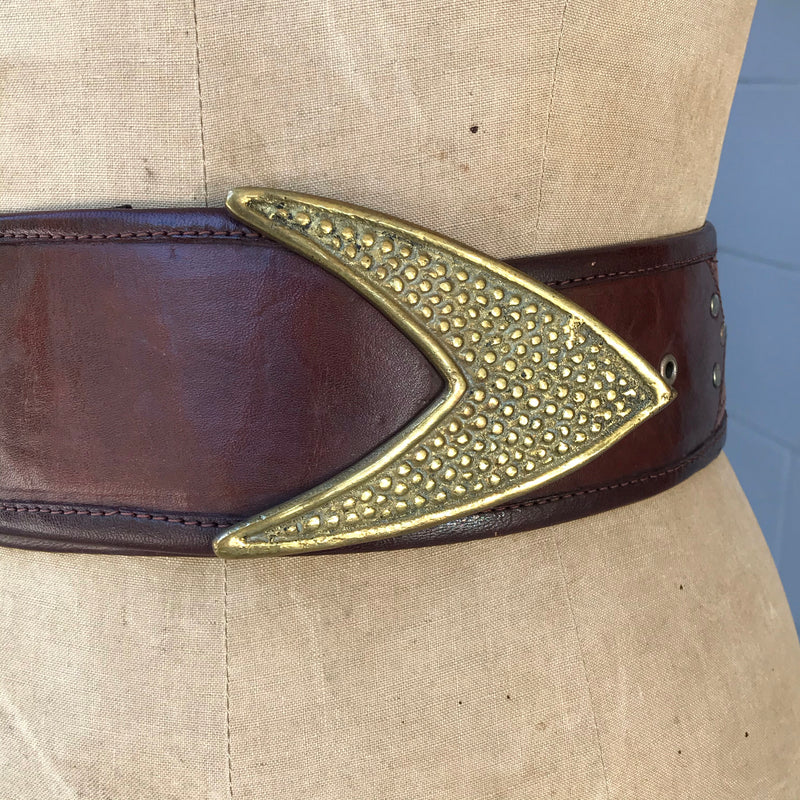 Wide Brown Leather Belt with Arrow Buckle