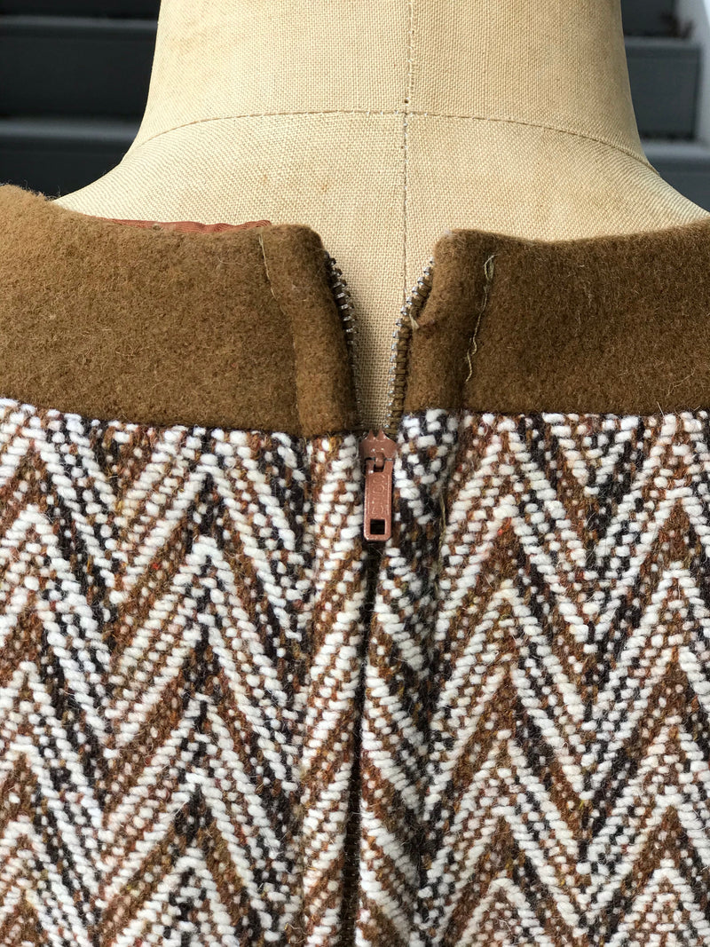 1970s Herrington Tweed Pocket Poncho with Belt