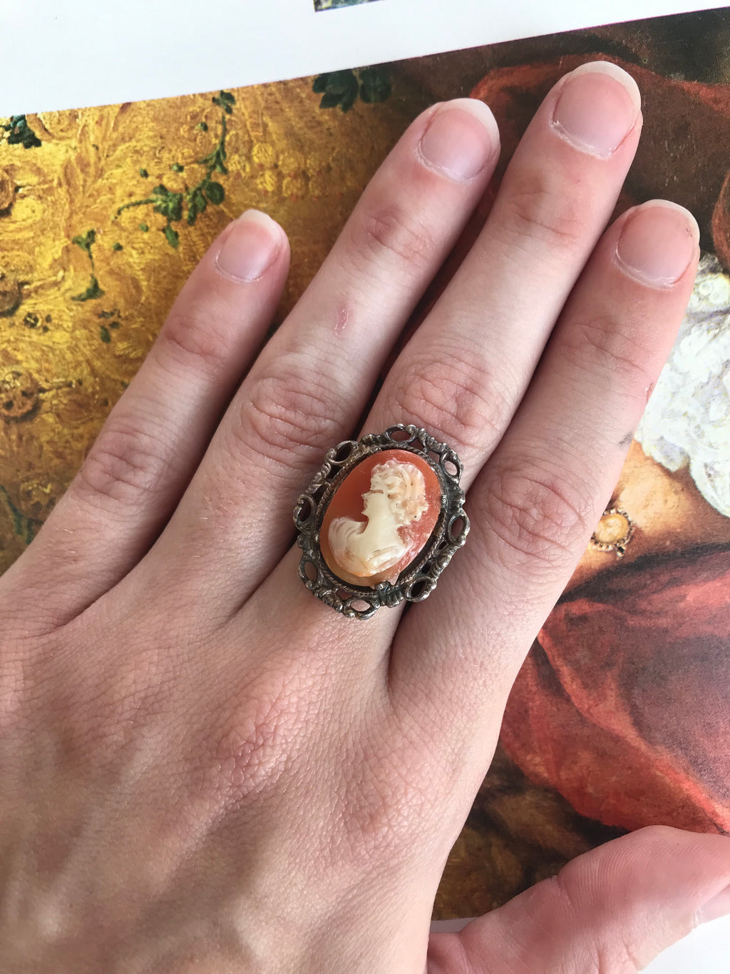 *RESERVED* Vintage Sterling Cameo Ring