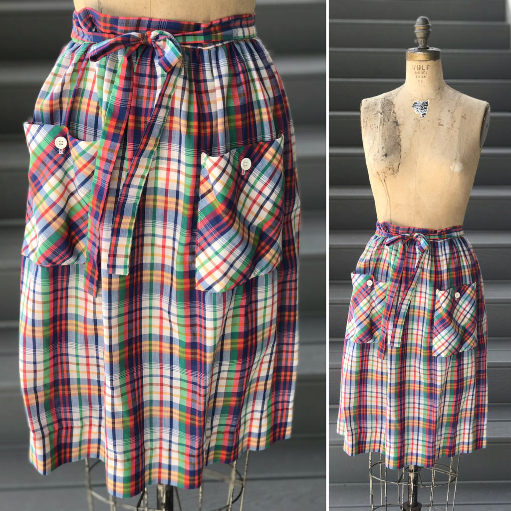 1970s Jewel Toned Plaid Pocket Skirt