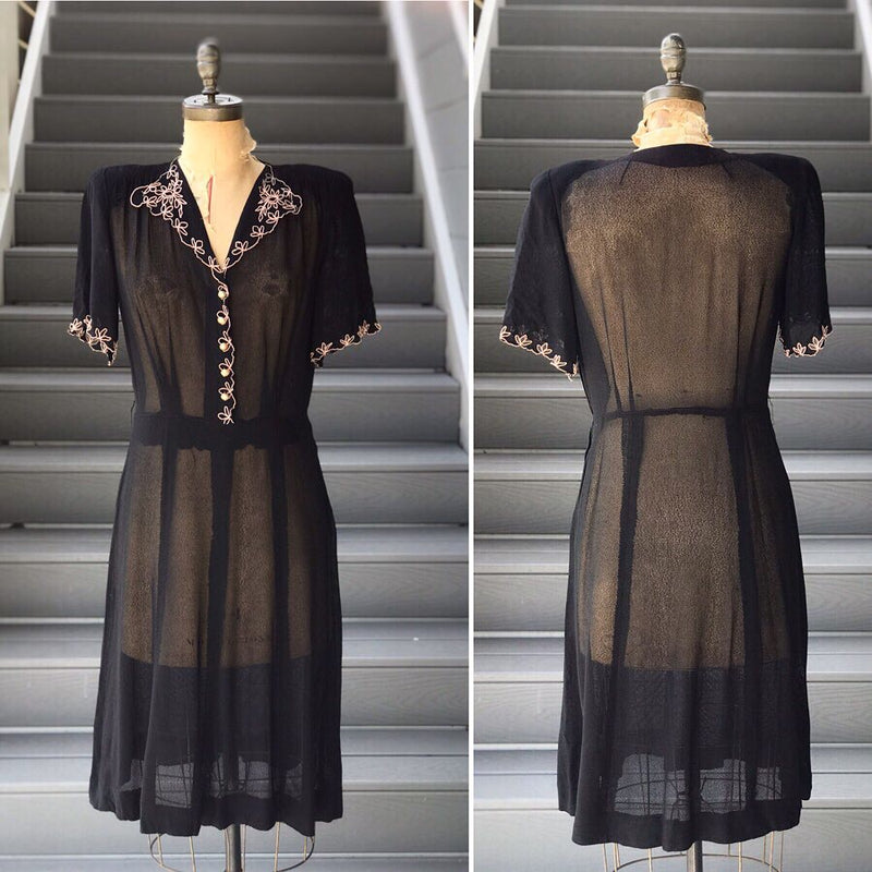 1940s Netted Sheer Eyelet Trimmed Dress