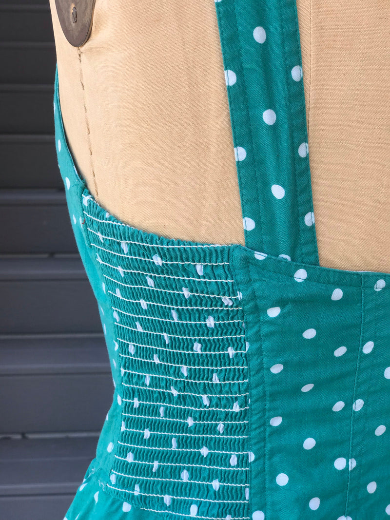 1980s Teal Polka Dot Summer Dress