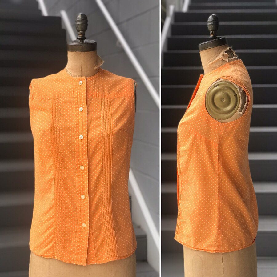 1960s Tangerine Swiss Dot Blouse