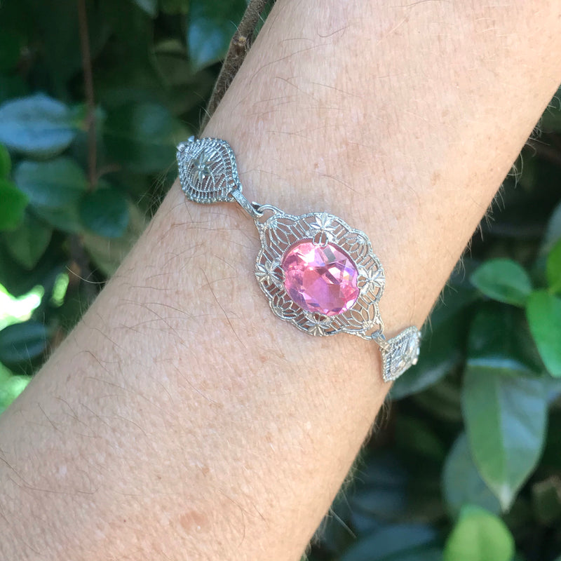 1920s Silver and Pink Art Deco Filigree Bracelet