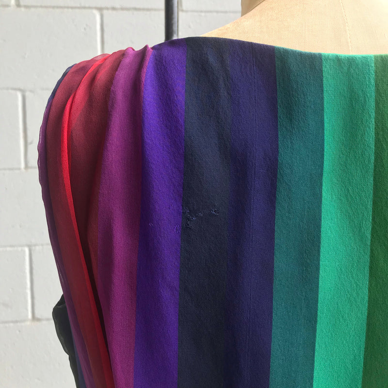 1950s Jeweled Rainbow Chiffon Skirt + Blouse