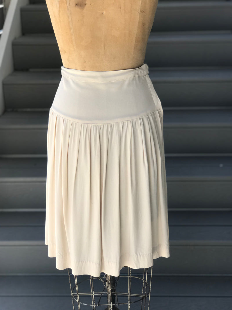 1930s Cold Rayon Pleated Dropwaist Skirt
