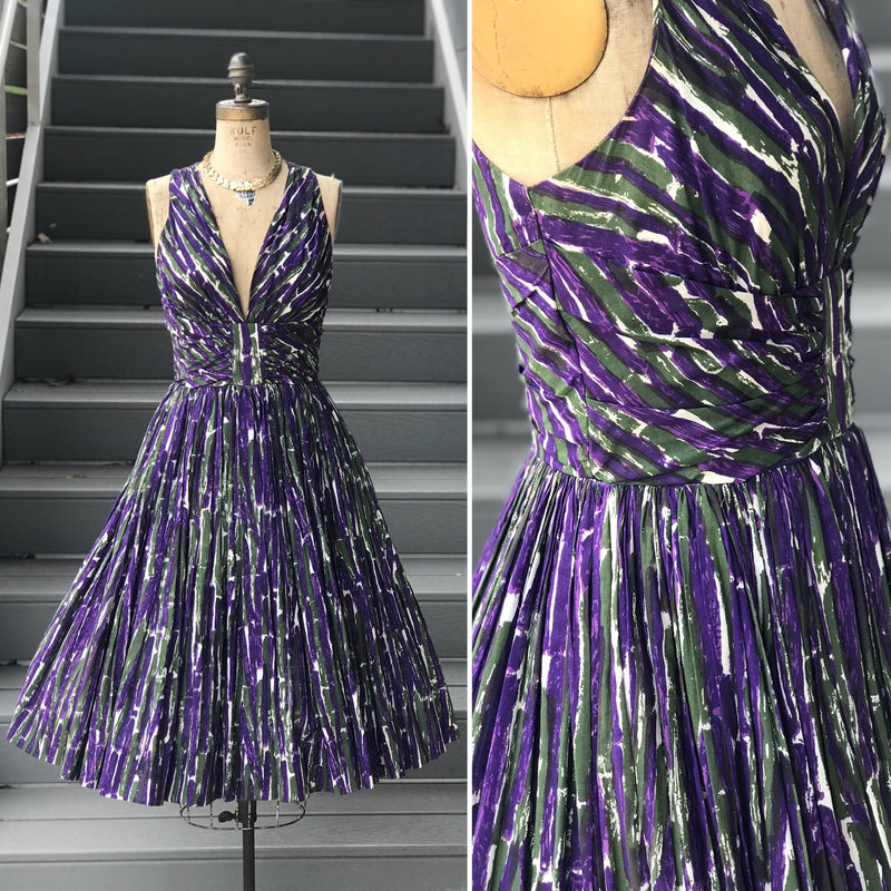 1950s Brushed Green + Purple Low-V Dress